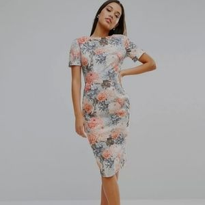 ASOS Wiggle Floral Pastel Pencil Dress 10